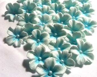 Gumpaste Cake Decorations Light Blue Gum Paste Flowers 25 piece set