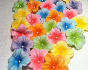 Gum paste Flowers Pastel Colors 30 piece Set with Ivory Dragee