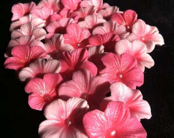 Cake Decorations Different Shades of Pink  Cherry Blossoms 25 piece