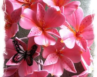 Alstroemeria Flower for Cake Decorating Gum Paste (Pink)