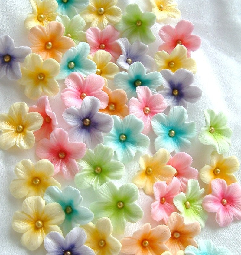 Cake Decorating Sugar Flowers How To Make : Cake Decorations Gum Paste Blossoms Pastel Colors 30 piece set