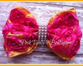 Couture Rosette Boutique Hair Bow - Hot Pink & Orange