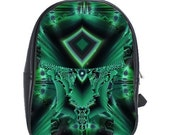 Android FX Fractal Art large Backpack leather- cyberpunk matrix- black light- psychedelic
