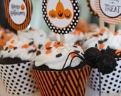 Halloween Trick or Treat Cupcake Toppers and Wrappers - DIY Printable