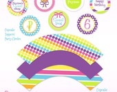 Sweet Shop Candy Party Custom Cupcake Toppers and Wrappers - DIY Printable