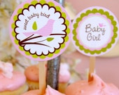 Little Bird Baby Shower cupcake topper and wrapper - DIY Printable