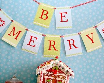 Gingerbread Christmas Cookies Merry Christmas Banner - DIY Printable