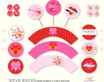 Love Rocks Valentine Cupcake Toppers and Wrappers - DIY Printable