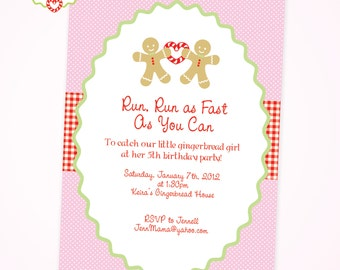 Gingerbread Pink Birthday Party - DIY Printable