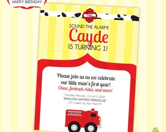 Fire Truck Birthday or Baby Shower Printable Party - DIY