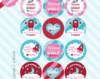 Out of this World Printable Valentine Favor Tags - Custom Space design