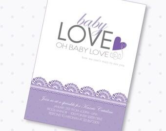 Baby Love Baby Shower Custom Printable Invitation