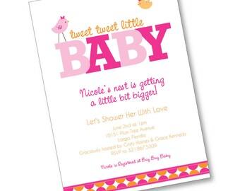 Mod Birdie Baby Shower Custom Printable Invitation