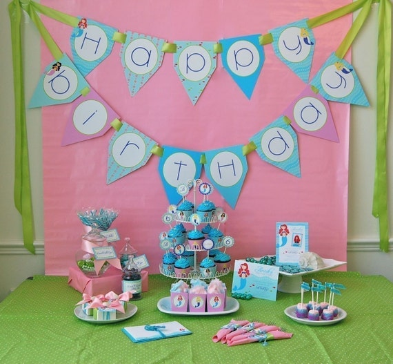 Little Mermaids Birthday Printable Party Pack DIY SALE