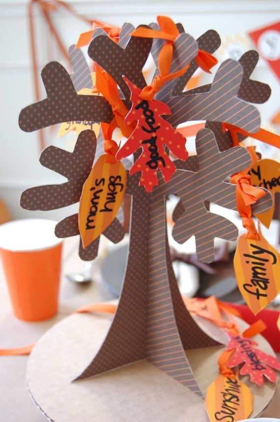 Tree of thanks with leaves diy printable papercraft by