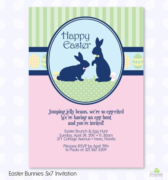 Easter Bunny Egg Hunt Custom Printable Invitation - DIY