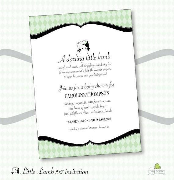 Little Lamb Baby Shower DIY Custom Invitation - Printable