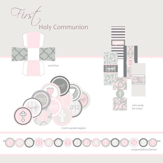 First Communion, Baptism or Confirmation Printable Party ...