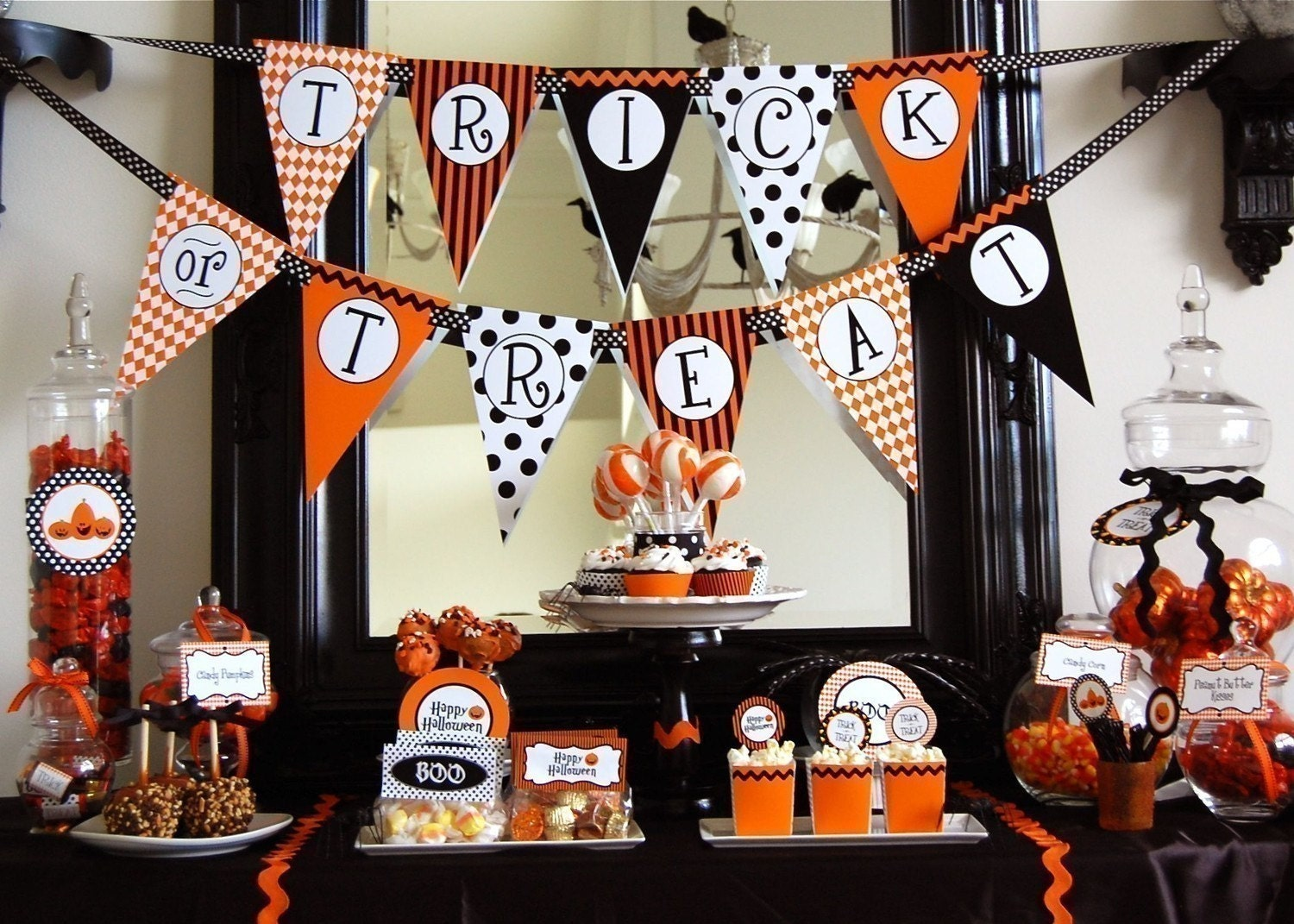 halloween trick or treat printable party instant download. Black Bedroom Furniture Sets. Home Design Ideas