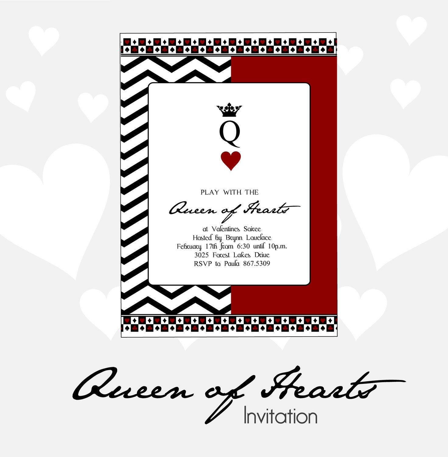 Queen of Hearts Valentines Party Invitation DIY Printable