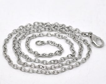 12pcs 18inch Antique Silver Chain Necklace Wholesale Necklaces Link Chain 3mm x 2mm - Bulk Lot Wholesale Silver Necklace Chain Findings A06