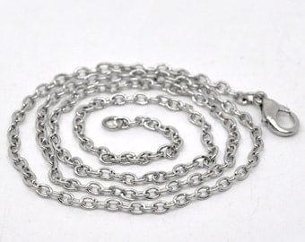 12pcs 24inch Antique Silver Chain Necklace Wholesale Necklaces Link Chain 3mm x 2mm - Bulk Lot Antique Silver Necklace Chains - Findings A26