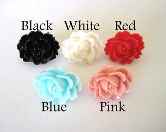Romantic Vintage Rose Cabochon Mix Flower Resin Cabochons 10pcs