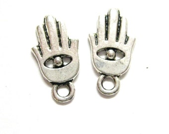10pcs Silver Hasma Fatima Hand Charms Evil Eye Beads EID - Antique Silver Nickel Free Charms - Wholesale Jewelry Supply E07