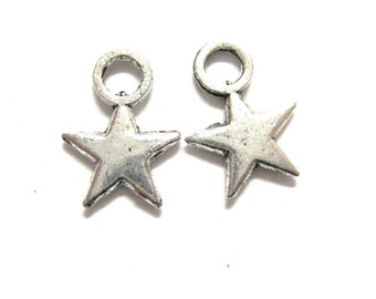 20pcs Star Antique Silver Charms 163 - Starlight Sky Heavenly Stars Charms - Star Study Beads - Astrology Constellation Wholesale Charms