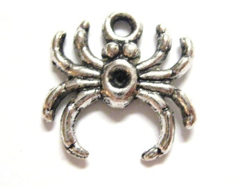 20pcs Wholesale Spider Charm - Silver Spider Charm - Silver Halloween Charm Bulk Lot - Black Widow Daddy Long Legs Bug Beads E31