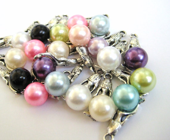 Silver Mermaid Charms on Pearl Beads Mix Colors 22mm 109pcs