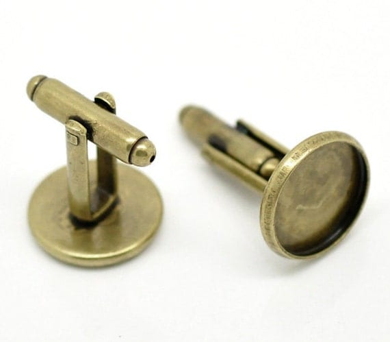 Antique Bronze Cufflink Blank Trays Glue On Round Cuff Link Back Findings Fit 14mm 4pcs