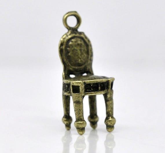 20pcs Antique Bronze Miniature Chair Charm - Vintage Chair Bead - Furniture Pendant 018