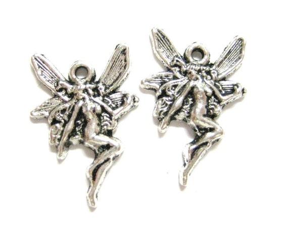 4pcs Pixie Fairy Art Nouveau Antique Silver Charms 054 - Faerie Beads - Fantasy Magical Mystical Fairies Charms - Wholesale Fairy Charms