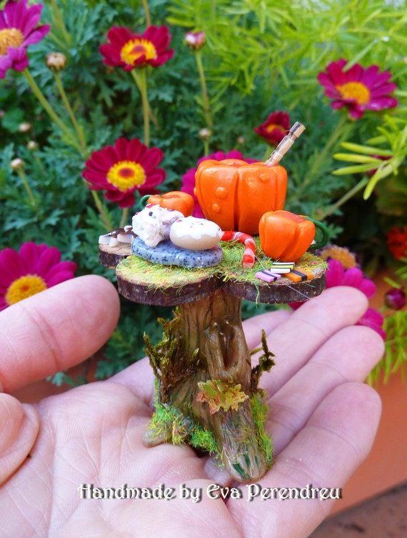 Fairy tea  table with pumpkin set for dollhouse 1/12, terrarium - 6 TIMES TREASURY ITEM