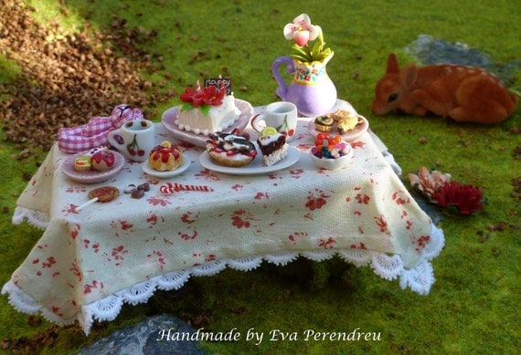 OOAK Miniature fairy table for birthday party -  Eight times TREASURY ITEM