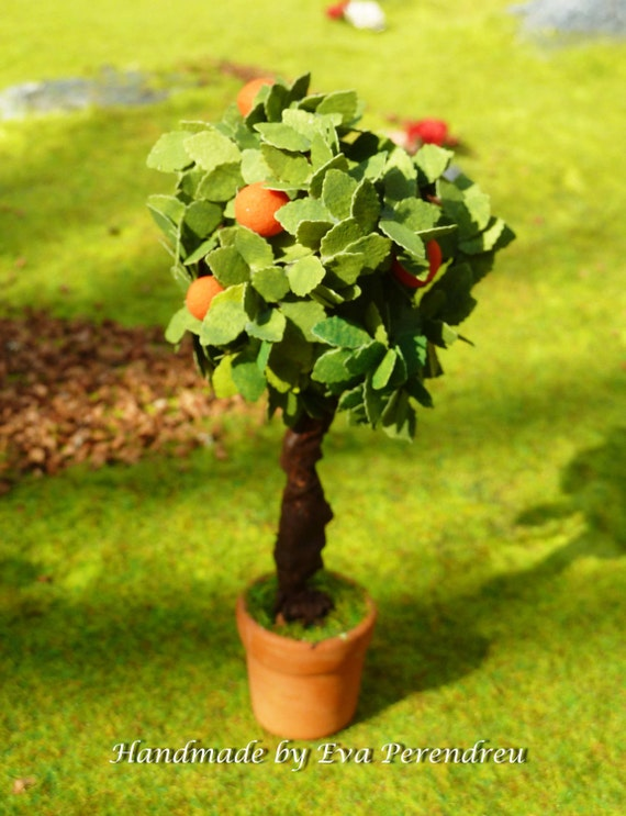 Dollhouse dwarf orange tree for miniature garden or terrarium