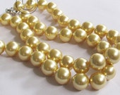 Free Shipping Perfect 12mm Golden Shell Pearl Necklace 23inch Long
