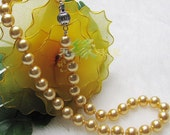 Perfect South Sea Shell Pearl Necklace, 10mm Round Golden Color, Imitation Pearls, Swarovski Pearls