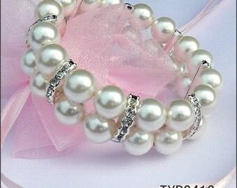 Shell Pearl Bracelet 2-Strand 10mm Bright White