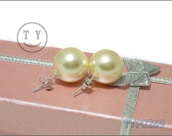 Swarovski Pearl Earrings 14mm Golden Shell Pearl With Sterling Silver Studs Wedding Jewelry for Bride and Bridesmaid