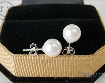 Swarovski Pearl Earrings 8mm White Shell Pearl With Sterling Silver Studs Pearl Stud Earrings Bridal Wedding Jewelry for Bridesmaids