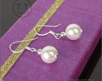 Shell Pearl Earrings 8mm White with Sterling Silver hooks