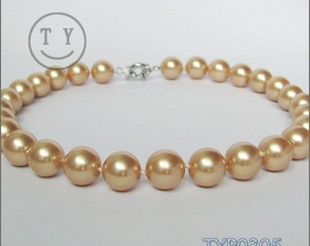 Shell Pearl Necklace 14mm Champagne