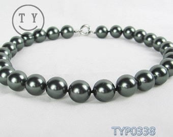 Swarovski Pearl Necklace 14mm Round Peacock Black Shell Pearl Beads Neck Chain Fine Jewelry Accessory