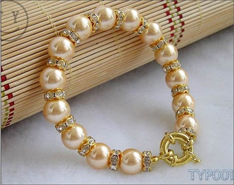 Free Shipping Charming 10mm Golden Pearl Bracelet with Zircon-inlayed Spacers 7inch With Clasp