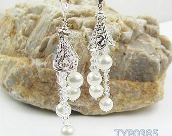 Unique Long Tassels Type Dangle South Sea Shell Pearl Earrings