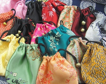 100pcs Drawstring Handmade Colorful Silk Bags, Jewelry Bags, Chinese Traditional Coin Purses, Small Clutchs