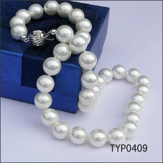 Swarovski Pearl Necklace 10mm White South Sea Shell Pearl Neck Chain Wedding Jewelry for Brides and Bridesmaids
