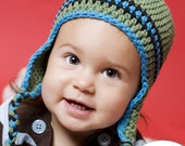 3 to 6 Month Earflap Hat in Meadow